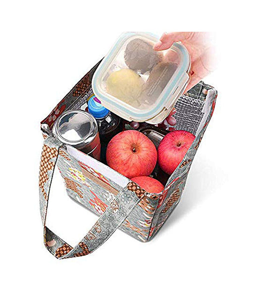Shopper52 Portable Cooler Bag FOLD-Over Insulated Lunch Bag with Handle and  Reusable School Lunch Box Travel Tote Bag Office Lunch Bag - Beige- LUNCHBAGMX-BKMX