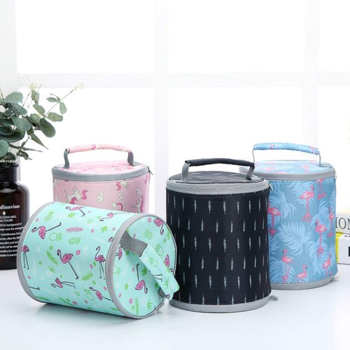 Foldable Thermal Insulated Lunch Bag Cover with Waterproof Round Insulation and Zipper Closing Waterproof Lunch Bag Tiffin Bag Insulated Lunch Box - LUNCHBAGROUND-BUMX