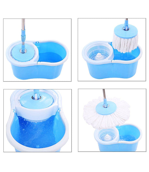 Magic Spin Mop with Bucket Set with Easy Wheels for Best 360 Degree Floor Cleaning Mop with 2 Refill Head Magic Mop Home & Office Cleaning Mop Plastic Bucket Mop - MGMP