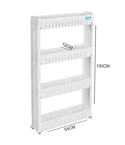 Vertical Multilayer Space Saving Storage Rack with Rubber Wheels. Kitchen,Bathroom Organizers (54X12X100cm) Color May Vary - MLT4LYRKS