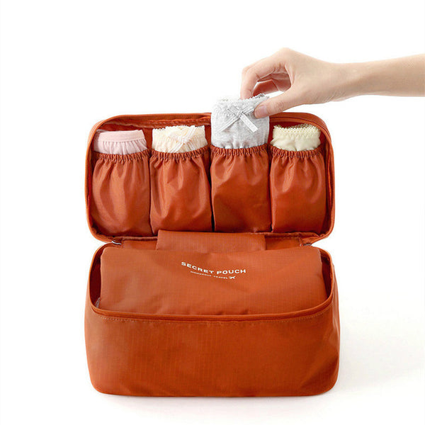 Undergarments and Innerwear Storage Bag Travel Organiser Polyester Pouch Bra Organiser Toiletry Bag Pouch Brown - MOTUDPBR