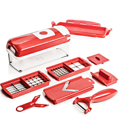 Red Nicer Dicer Multi Chopper Vegetable Cutter Fruit Slicer Peeler Dicer Plus - NICRED