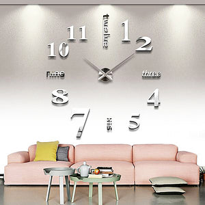 DIY Wall Clock 3D Sticker Home Office Decor 3D Wall Clock (Covering Area:100*100cm) - T4215S