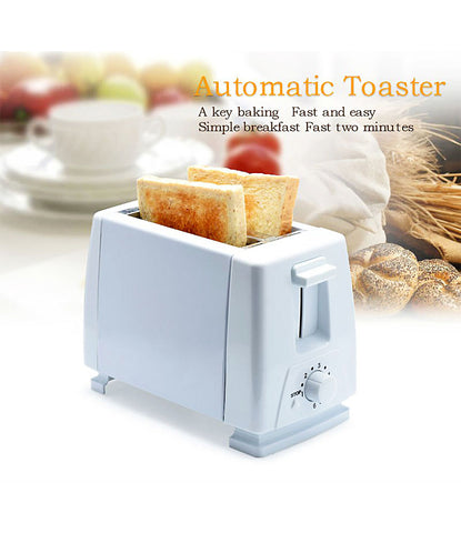Automatic Plastic and Stainless Steel Multi Function Electric 2 Slices Bread Toaster Oven with EU Plug for Breakfast (White) - TOASTER