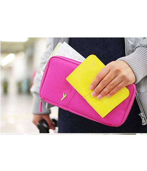 Multipurpose Travel Passport Credit Id Card Organizer Holder Case Zipper - TRBGHDBL