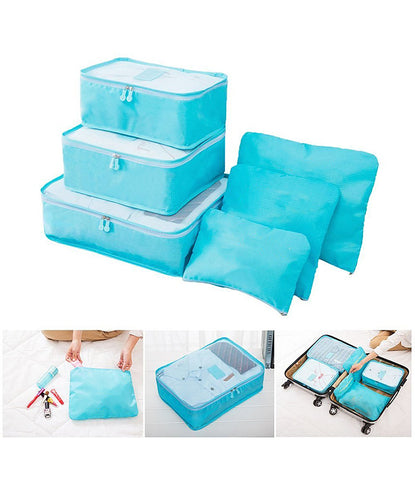 6pcs Packing Portable Travel Storage Bag Organiser Luggage Suitcase Pouches Laundry Bag - TRLDBAGBL
