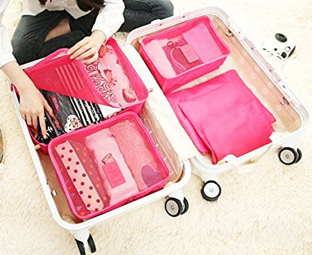 6pcs Packing Cubes Portable Travel Storage Bag Organiser Luggage Suitcase Compression Pouches Luggage Organiser - TRLDBAGPK