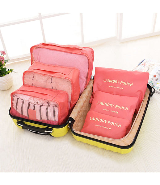 6pcs Packing Portable Travel Storage Bag Organiser Luggage Suitcase Pouches Laundry Bag - TRLDBAGBK