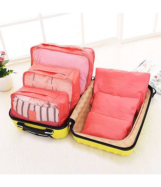 6pcs Packing Cubes Portable Travel Storage Bag Organiser Luggage Suitcase Compression Pouches Luggage Organiser - TRLDBAGSF