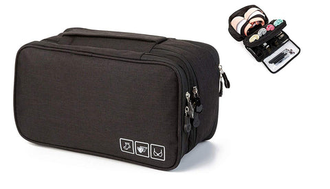 Women's Canvas Double Layer Travel Bra Underwear Lingerie Cosmetic Organizer Case Toiletry Bag (Black)- TRUNDPBK