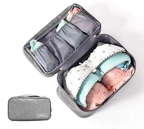Canvas Grey Double Layer Travel Lingerie Cosmetic Organizer Case/Toiletry Bag - TRUNDPGY
