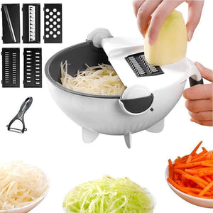 9 in 1 Vegetable Cutter with Drain Wet Basket Kitchen Shredder Grater Slicer Magic Multifunctional Rotate Vegetable Cutter - WETBASK