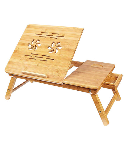 Laptop Table Stand Wooden Multipurpose Table for Laptop/Study/Reading/Eating/Craft-Work/Bed Table | Portable Standing Desk, Foldable Sofa Breakfast Tray, Notebook Stand Reading Holder - WODTB2
