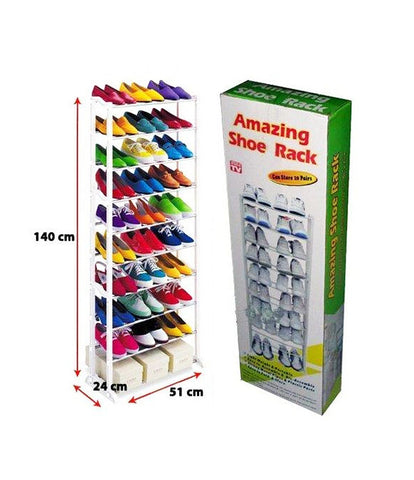 Portable Shoe Rack with 10 Layer Holds Approx 30 Pairs Shoes, 54x6.5x20 Inches (White) - AMZSR