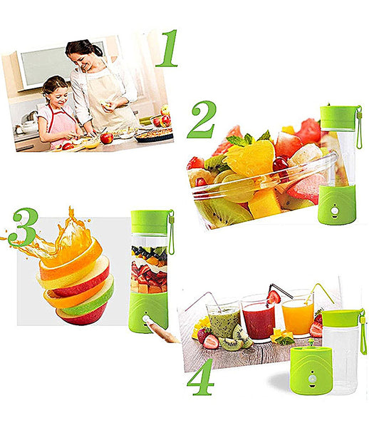 Mini Portable USB Rechargeable Electric Juicer Blender Mixer Fruit Vegetable Plastic Grinder Mixer Grinder 380 ml - JUICE603