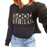 Good as hell crop top sweatshirt black red yellow blue Lizzo music model