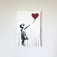 Leather art Banksy Girl with Balloon