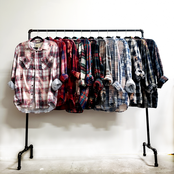 Hand dyed bleach dyed flannels shirts over sized grunge streetwear