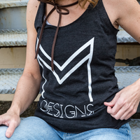 M Designs logo apparel tank top racerback model gray