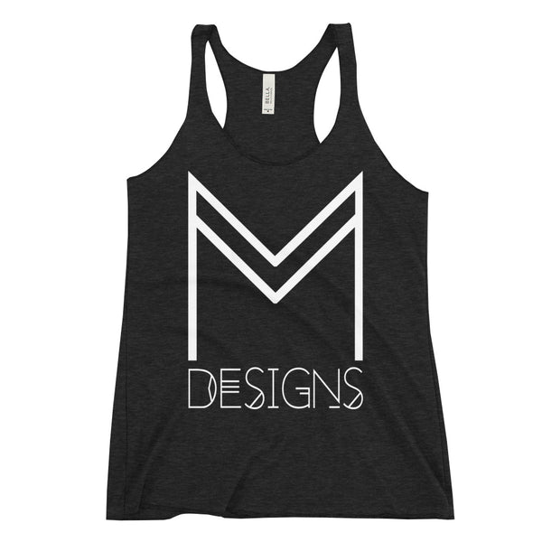 M Designs logo apparel tank top racerback gray