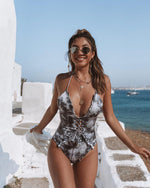 Women One-piece Swimming Suit Splash Stringy Selvedge Lace-up One-piece Bikini