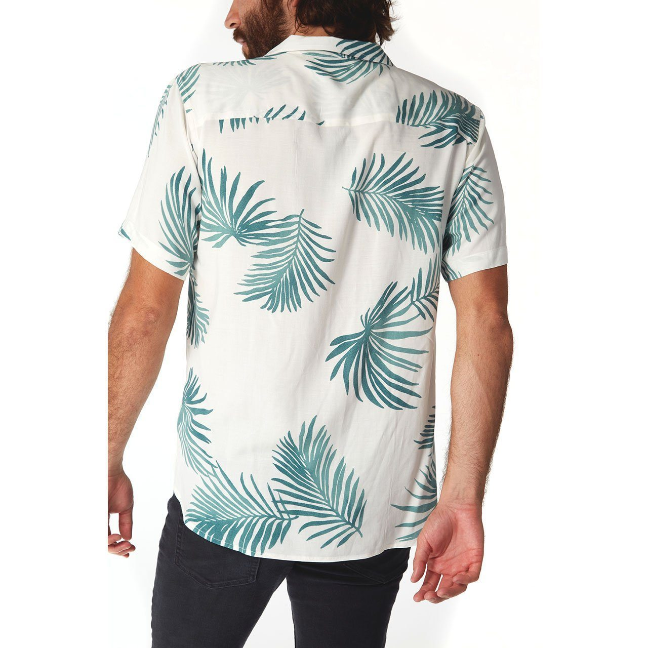 mens white shirt palm tree button up short sleeve top mens clothes lord owens