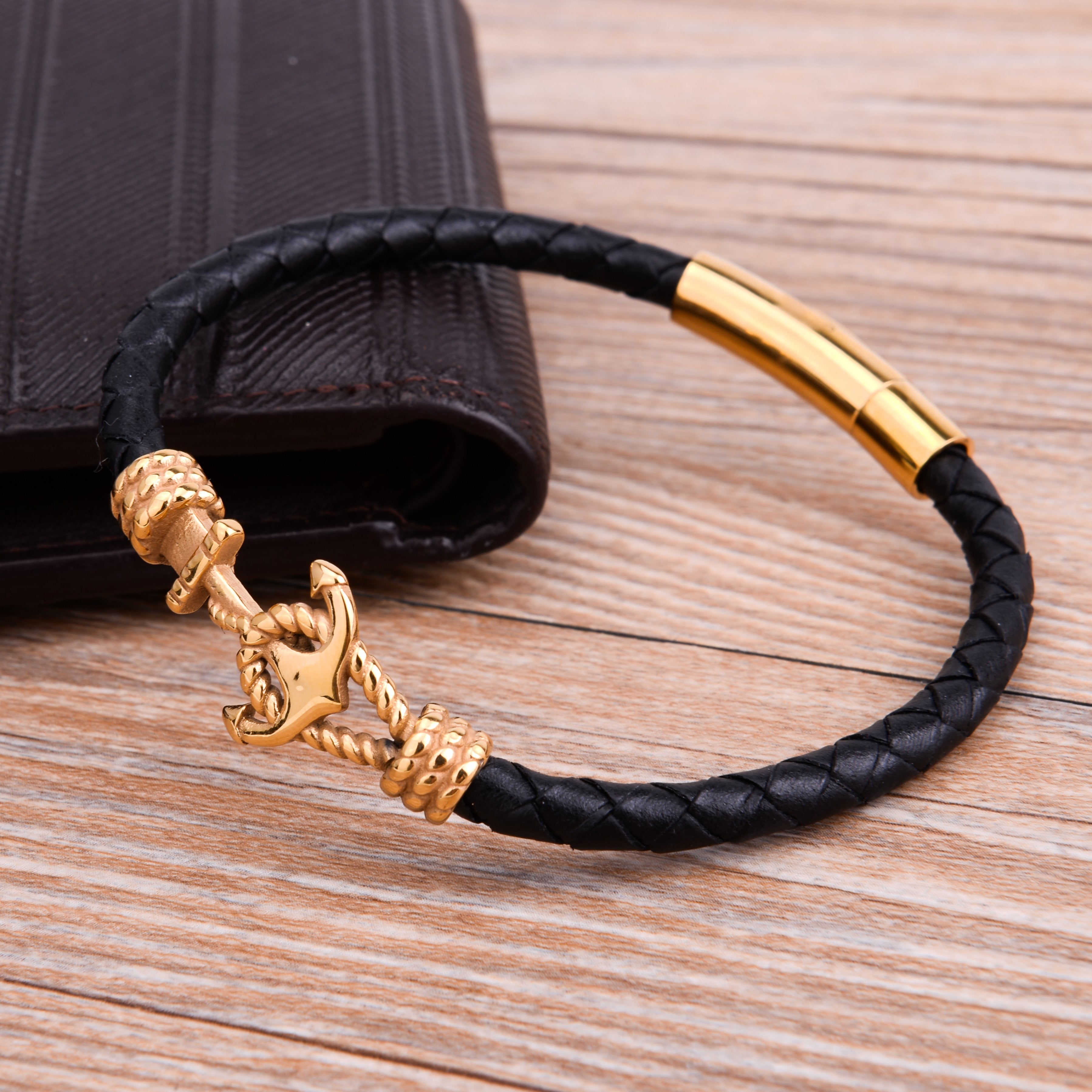 gold stainless steel bracelet sailor navy charm jewelry lord owens