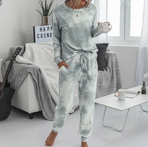 grey tie dye loung suit set womens cozy house clothes pants lord owens
