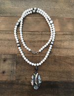 necklace white pearl crystal abalone stone custom jewelry lord owens