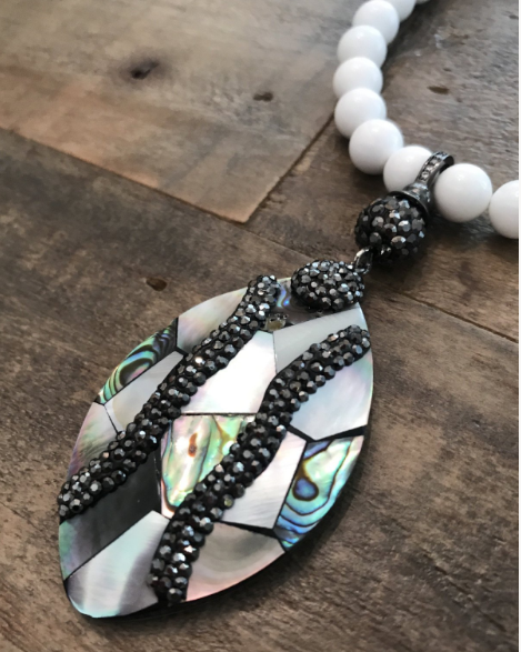 necklace stone custom bohemian womens jewelry pearl and abalone lord owens