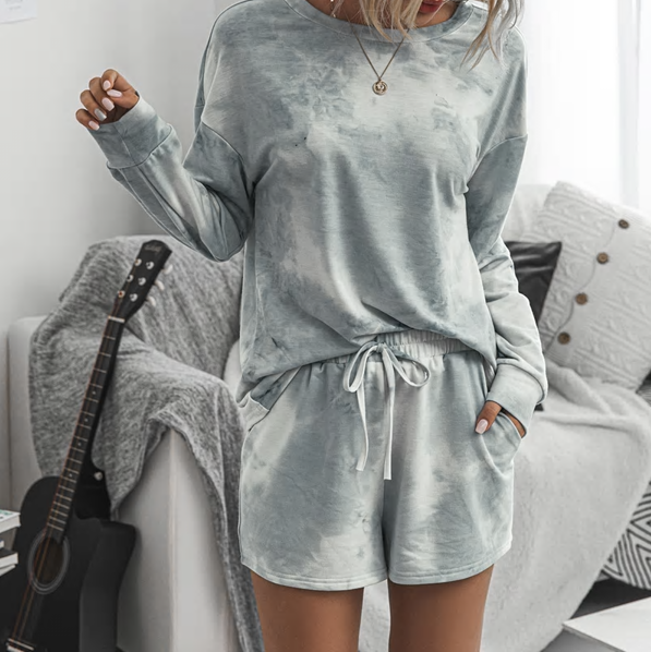 grey pajama short set tie dye lounge wear cute women clothes lord owens