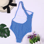 Swimsuit One-Piece Striped Printed One-Shoulder Exposed Back Sexy Bikini