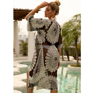 Water Soluble Lace Embroidery Beach Skirt Sexy Vacation Cardigan Bikini Blouse