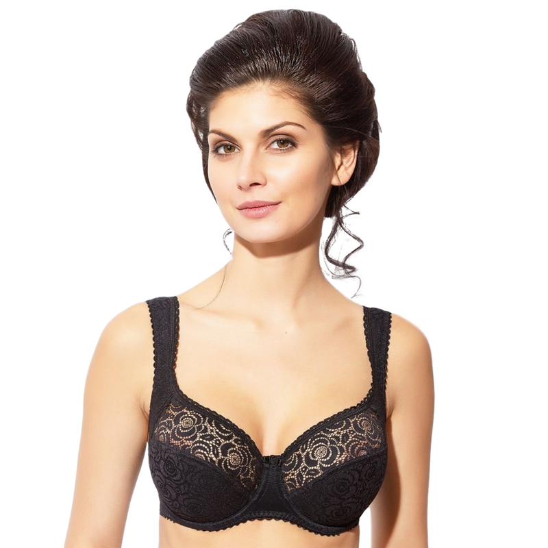 Half Padded Semi Sheer Lace Bra Annija Rosme Black