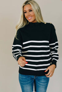 blue sweater stripe soft and cozy top