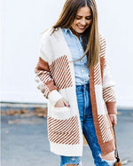 white and brown cardigan neutral pattern soft with pockets lord owens