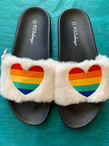 slipper heart rainbow pj salvage house shoes womens clothes