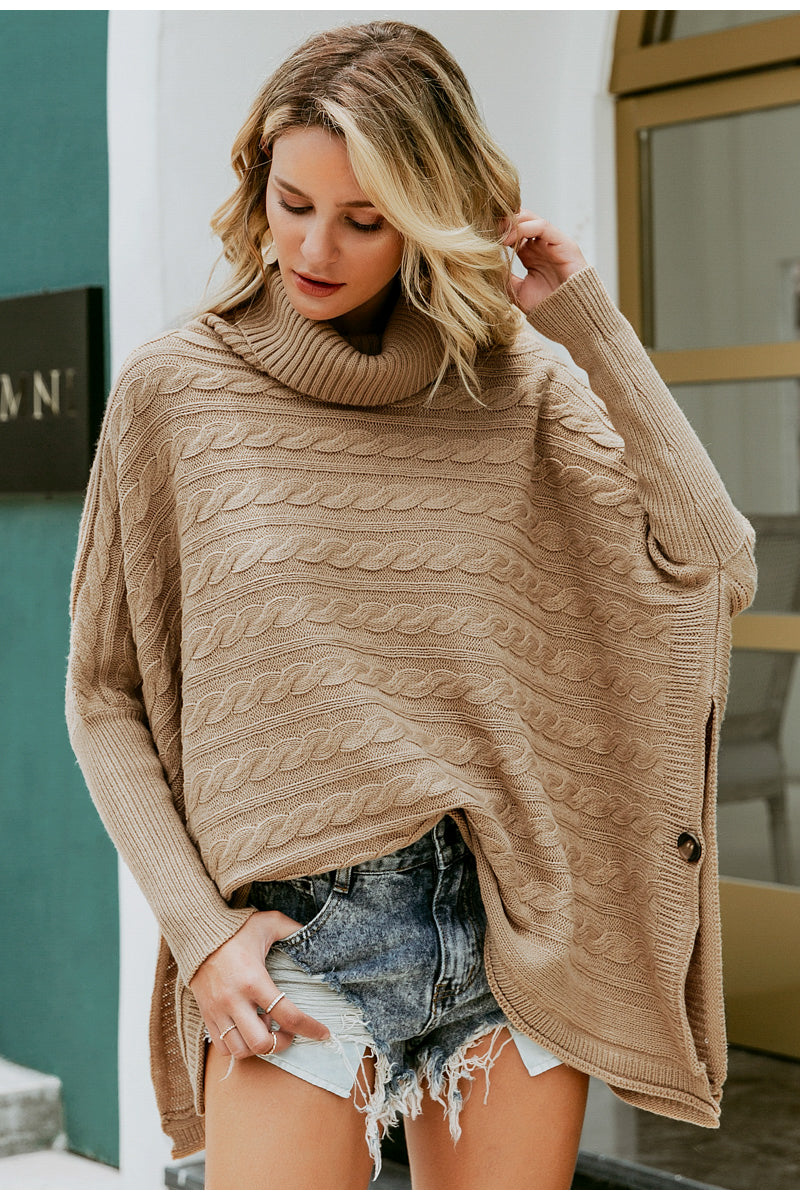 womens poncho light brown tan camel long sleeve overthrow cardigan lord owens