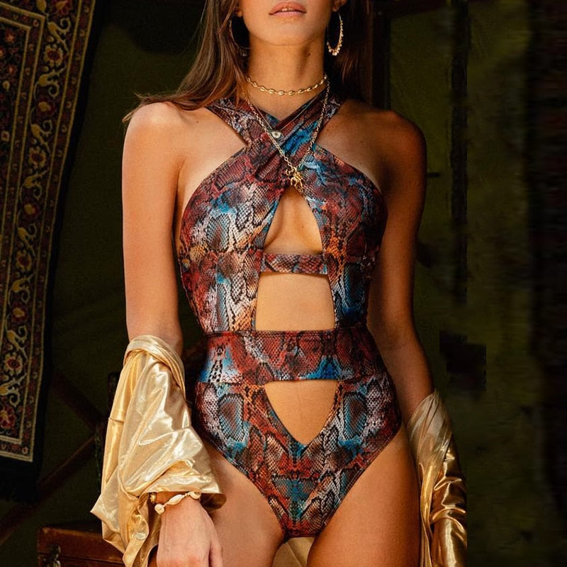 snake print swimsuit one piece sexy bikini womens clothes lord owens