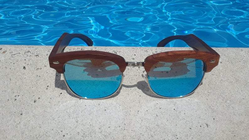 Real Sandalwood Sunglasses, Ice Blue Polarized Lenses