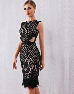 woman wearing black lace nude dress cocktail dress lord owens