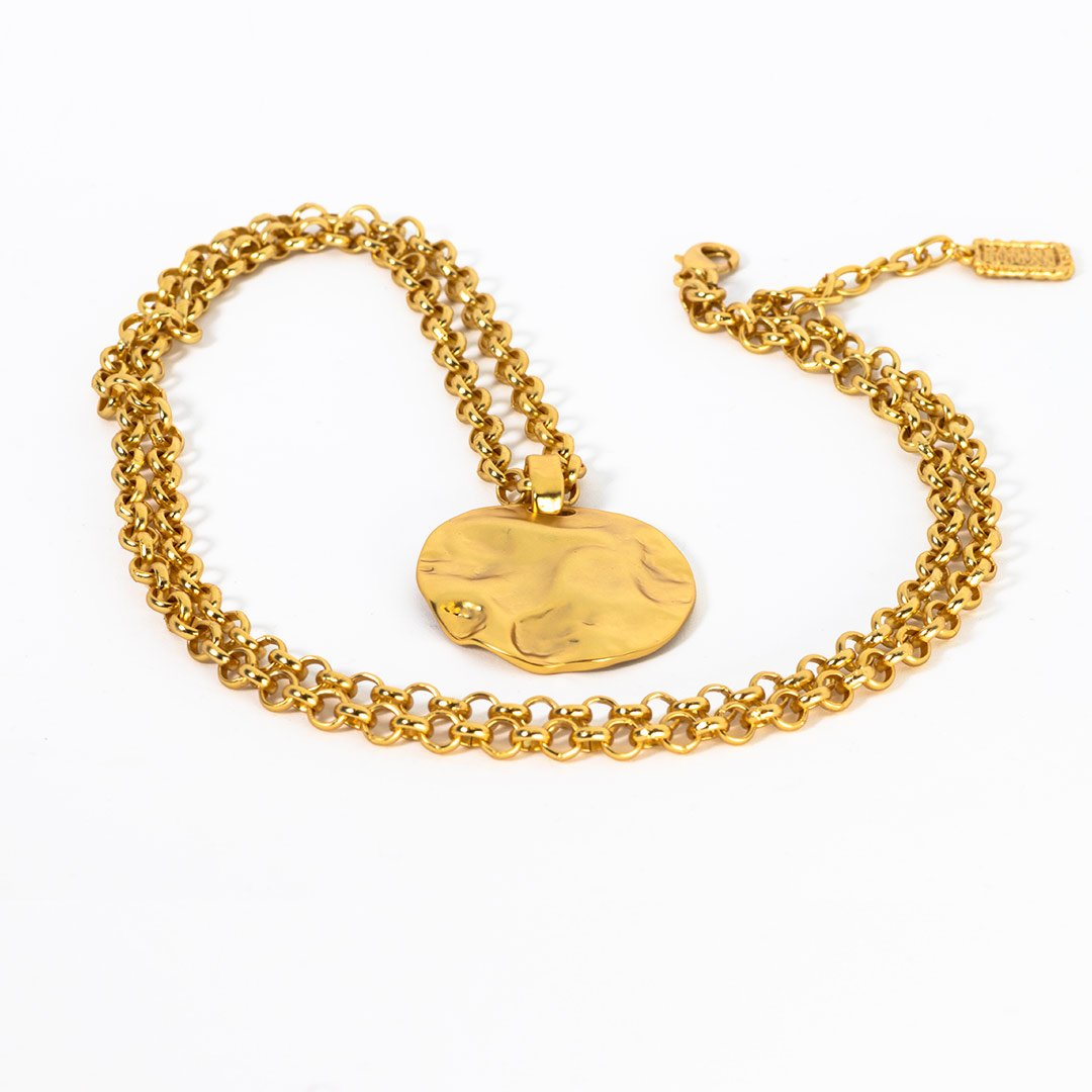 gold necklace womens real gold 24k plated womens circle necklace accessory lord owens