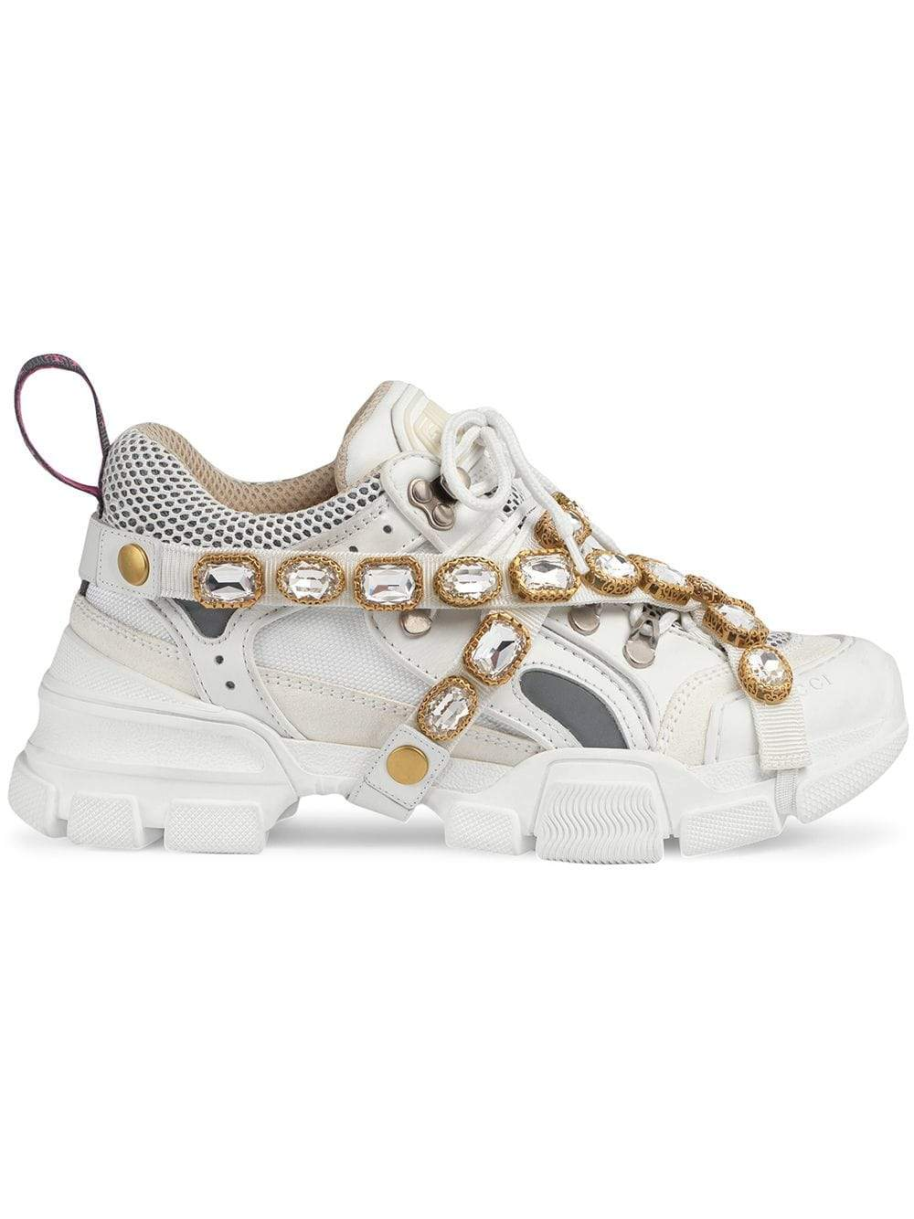 Flashtrek removable crystal sneakers white