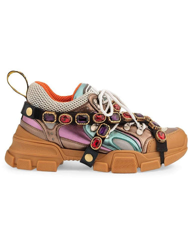 Multicoloured metallic flashtrek removable crystal sneakers