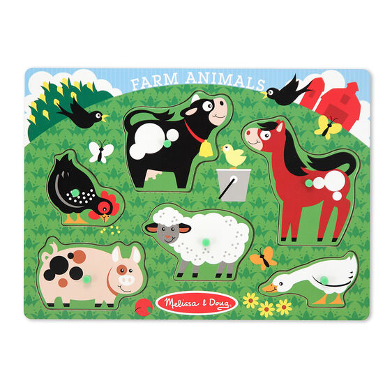Wooden Peg Puzzle - Farm Animals