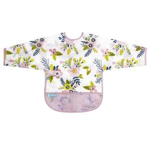Cleanbib with Sleeves Pink Garden Flowers - 12-24m