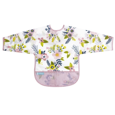 Cleanbib with Sleeves - Pink Garden Flower - 6-12m