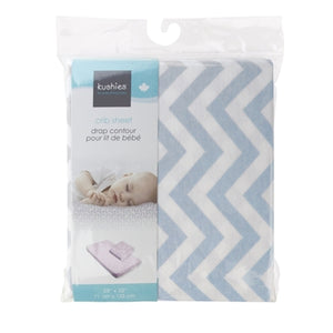 Kushies Crib Sheet - Blue Chevron