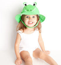 Load image into Gallery viewer, Zoocchini Baby Sun Hat Alligator - 3-6m