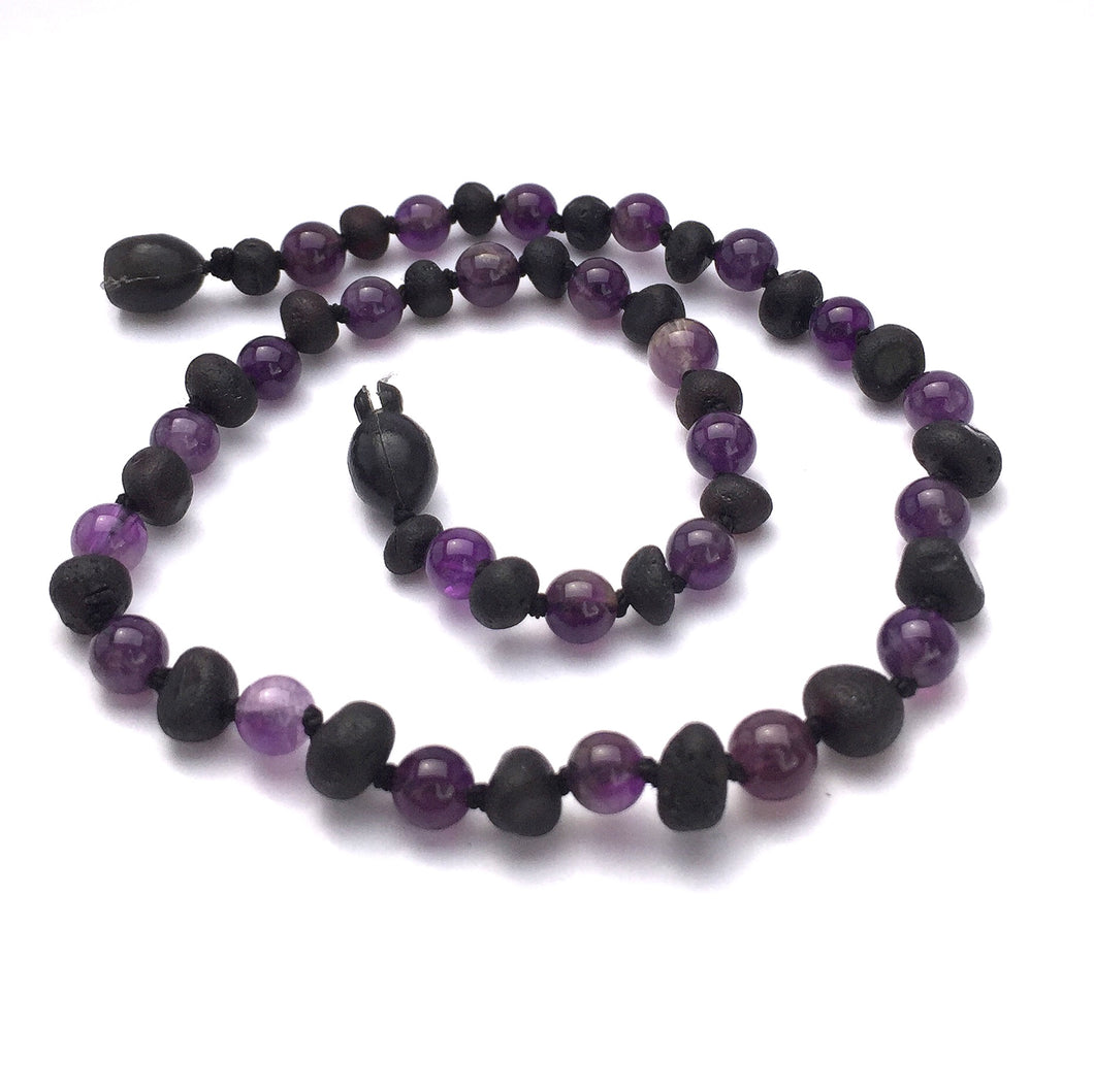 Baltic Amber Necklace Raw Baroque Cherry/Amethyst - S